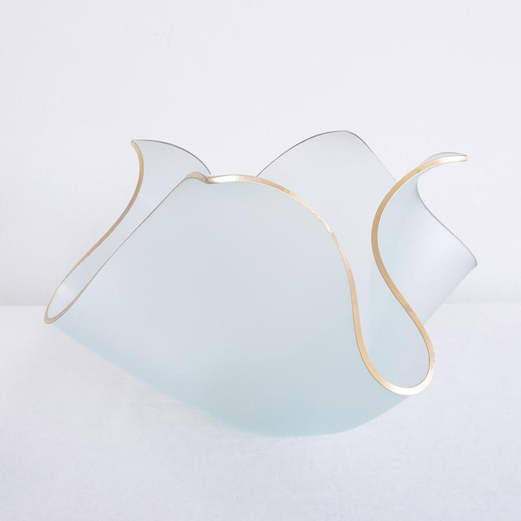 Annieglass Tulip Sculpture Frosted with Gold Trim, MPN: TP100G