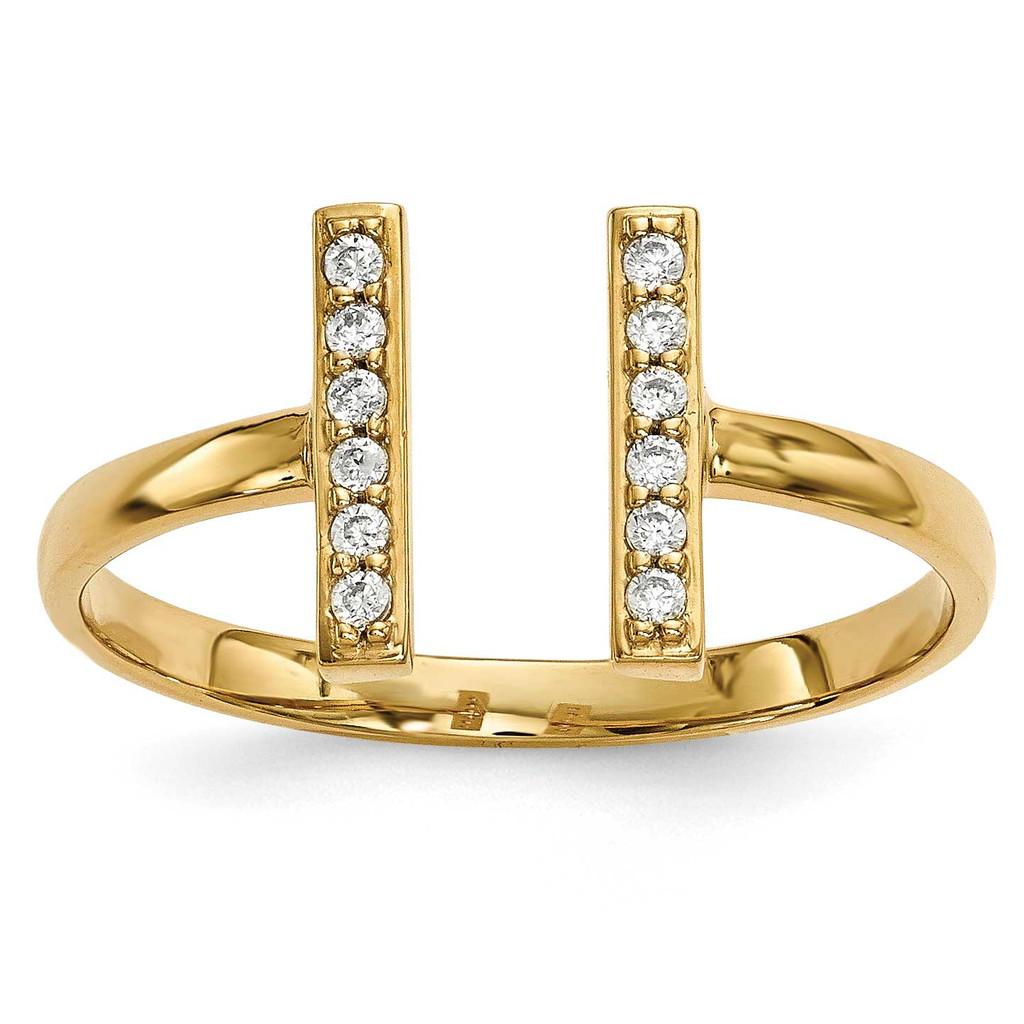 Diamond Double Bar Ring 14k Gold MPN: Y13743VS UPC: