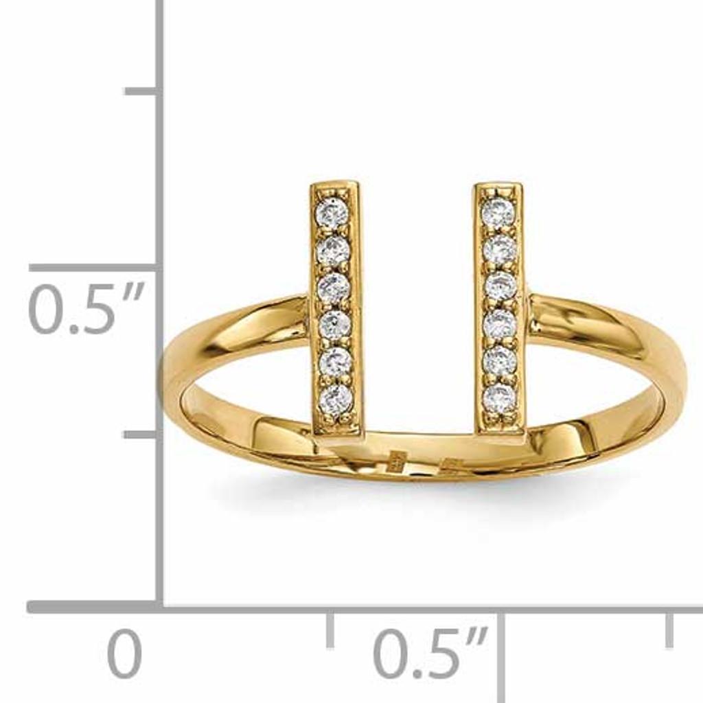 Diamond Double Bar Ring 14k Gold Y13743VS