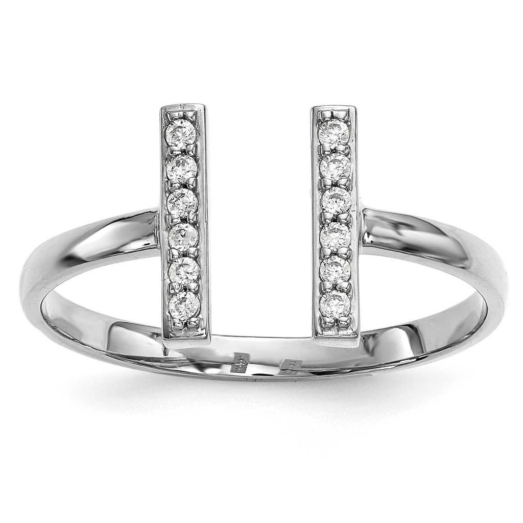 Diamond Double Bar Ring 14k White Gold MPN: Y13743WVS UPC: