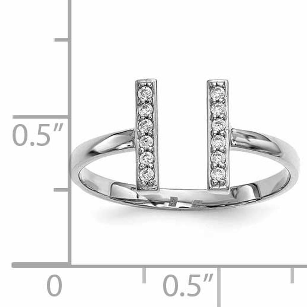 Diamond Double Bar Ring 14k White Gold Y13743WVS