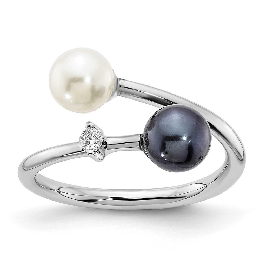 5-6mm Round Black & White Saltwater Akoya Pearl Diamond Adjustable Ring 14k White Gold MPN: Y13945PL/A UPC: