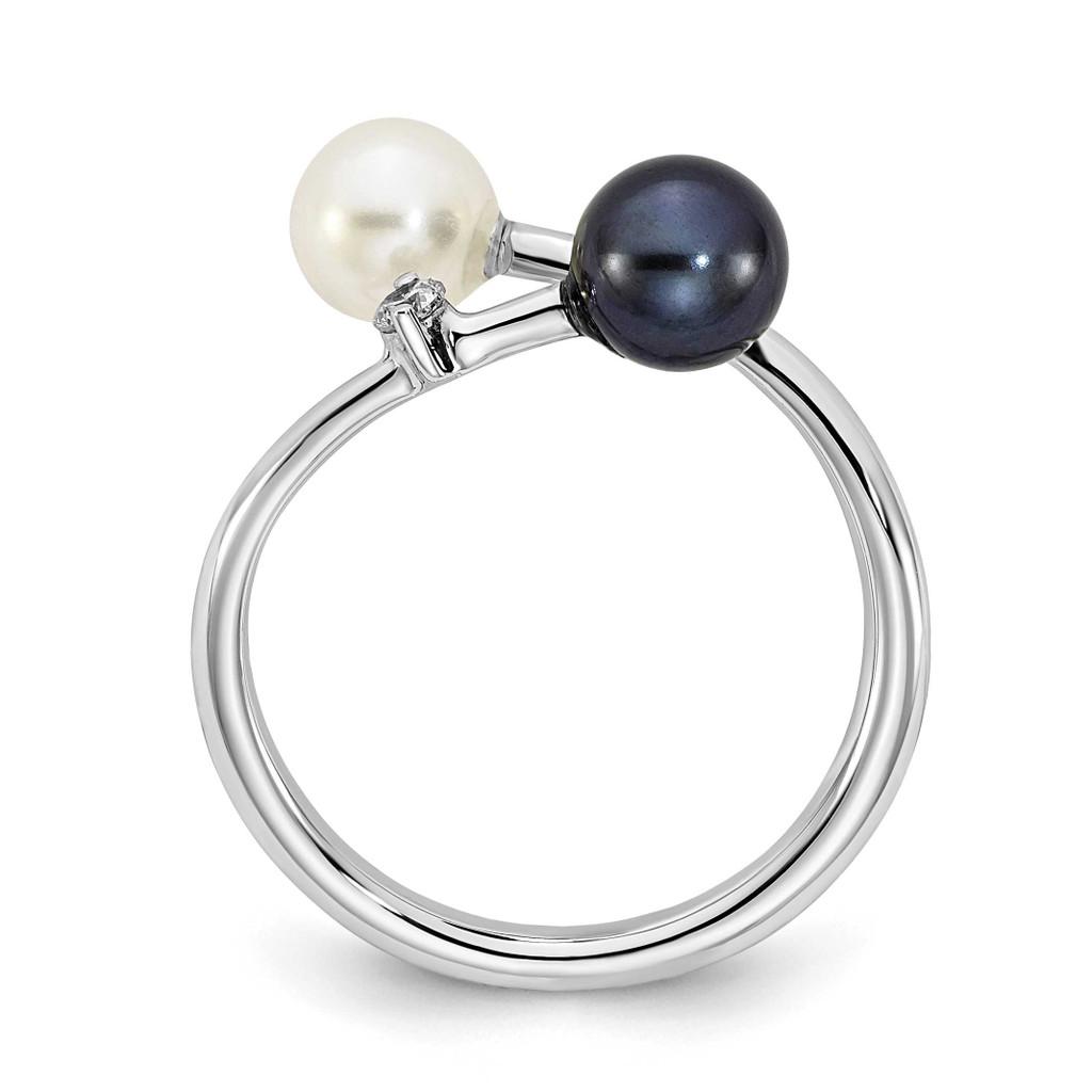 5-6mm Round Black & White Saltwater Akoya Pearl Diamond Adjustable Ring 14k White Gold Y13945PL/A