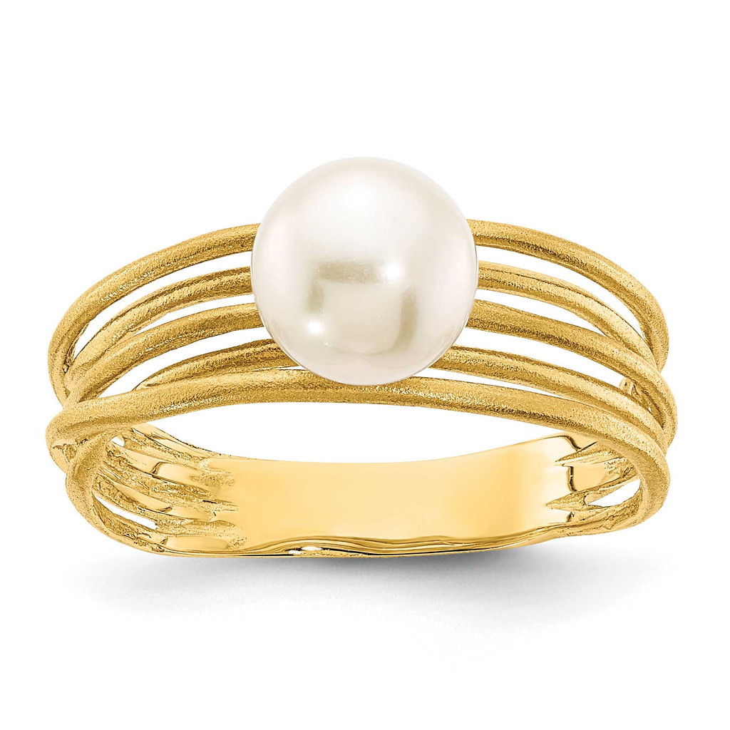 7-8mm Round White Freshwater Cultured Pearl Brushed Ring 14k Gold MPN: Y13946PL UPC: