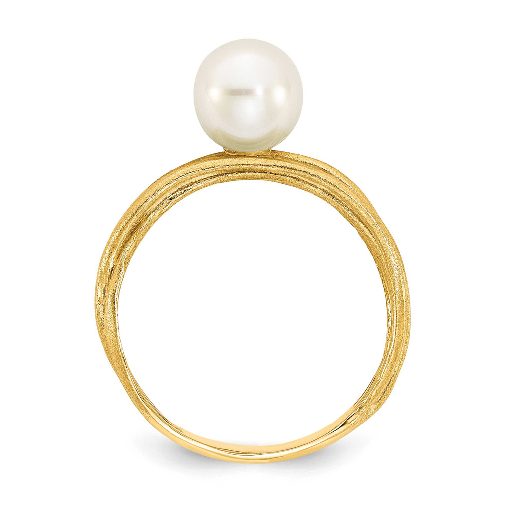 7-8mm Round White Freshwater Cultured Pearl Brushed Ring 14k Gold Y13946PL