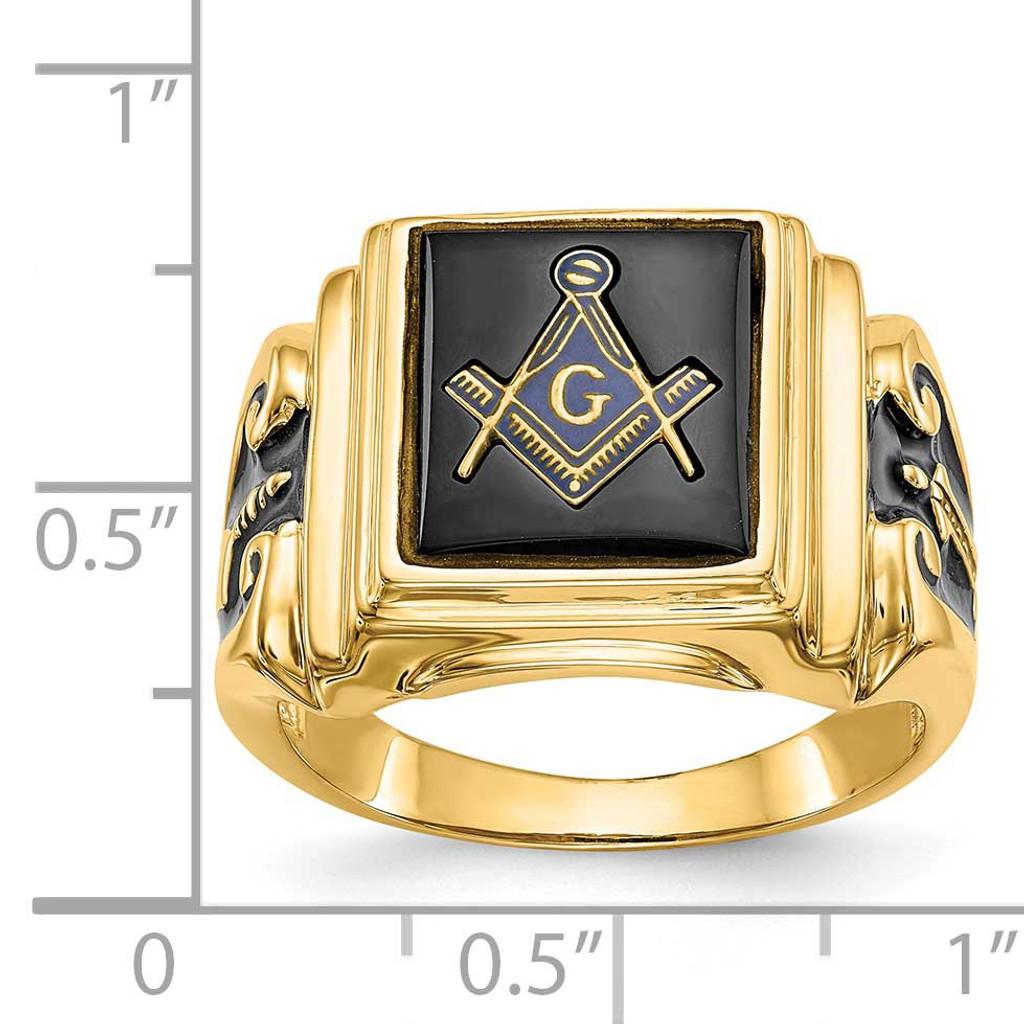 Men's Masonic Ring 14k White Gold Y1593WM
