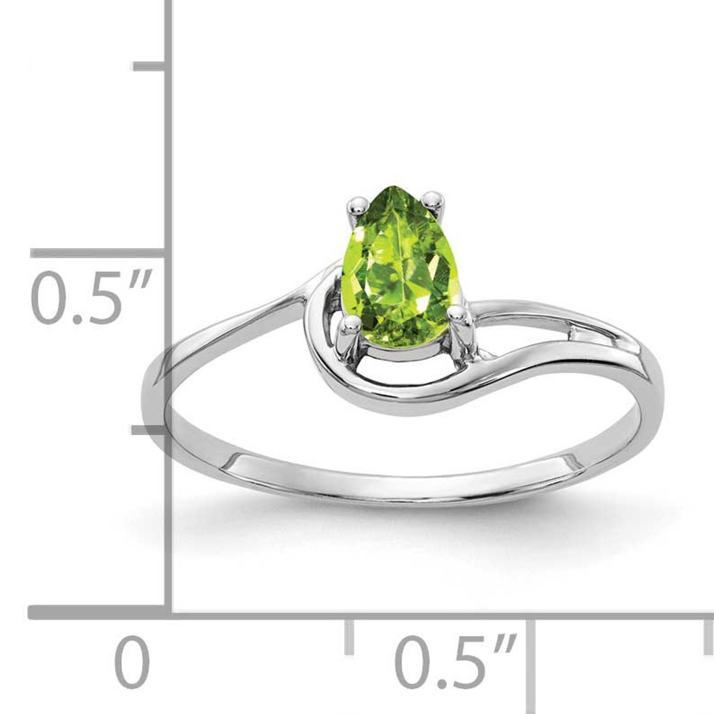 Yellow Gold 6X4mm Pear Peridot Ring 14k Gold Y4627YPE
