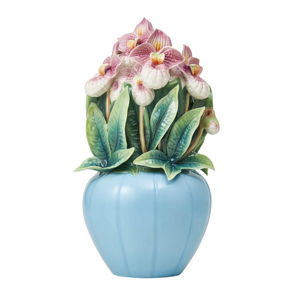 Franz Porcelain Meeting Happiness Silver Slipper Orchid Design Sculptured Figurine, MPN: FZ03871