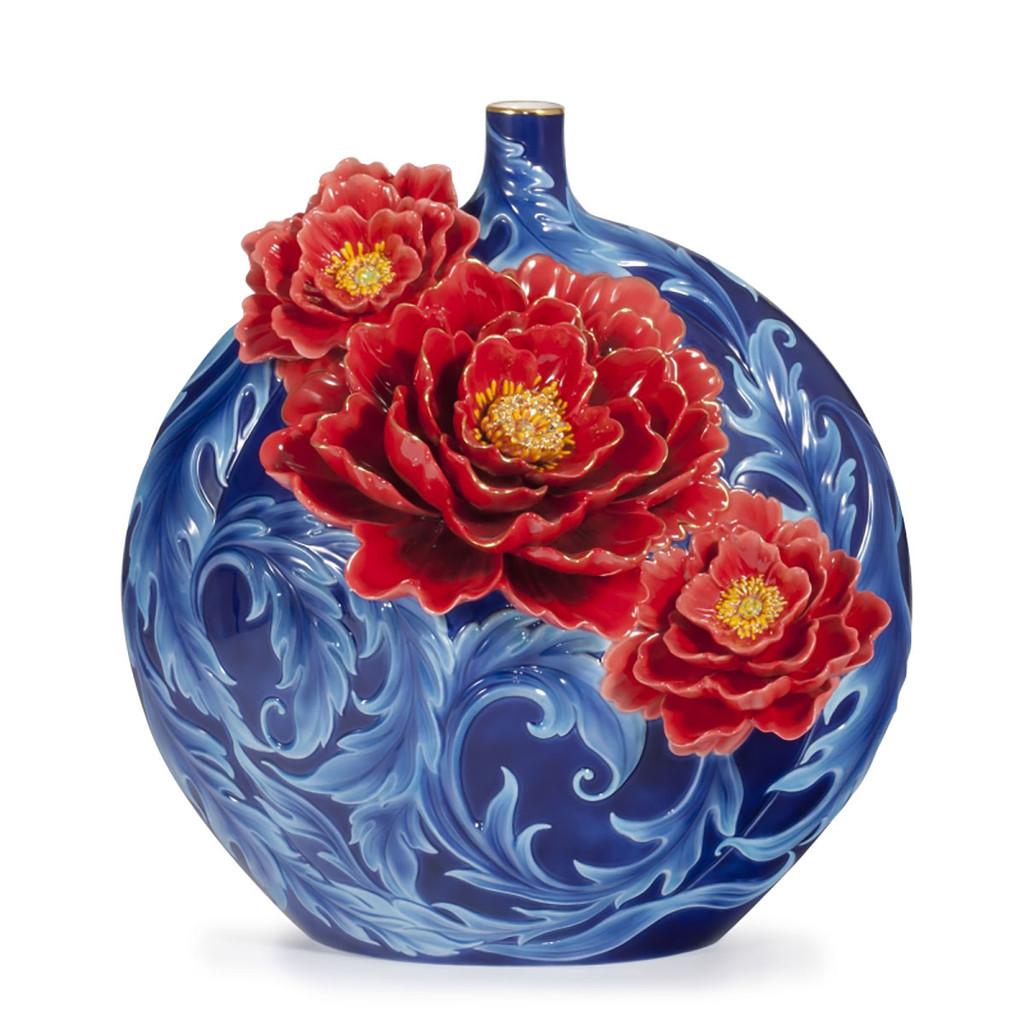 Franz Porcelain Blossom Of Peony Design Sculptured Vase With Wooden Base Limited Edition , MPN: FZ03887
