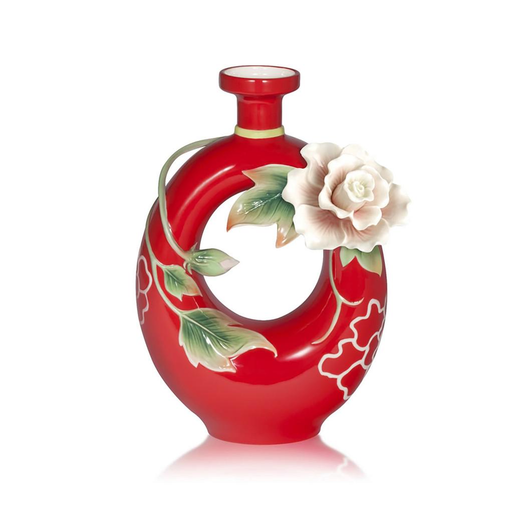 Franz Porcelain Blessing And Harmony Cotton Rose Design Sculptured Vase, MPN: FZ03924