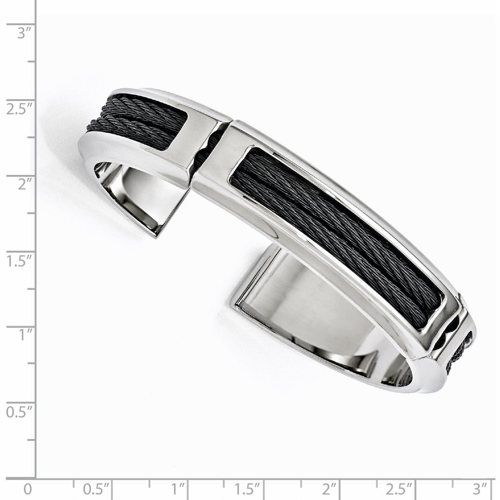Edward Mirell Titanium & Stainless Steel Cable Polished Flexible Cuff Bangle EMB133 with Ruler for Sizing on it