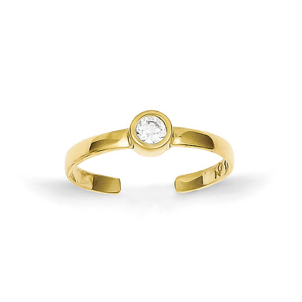 Toe Ring 10k Gold Synthetic Diamond 10C1156