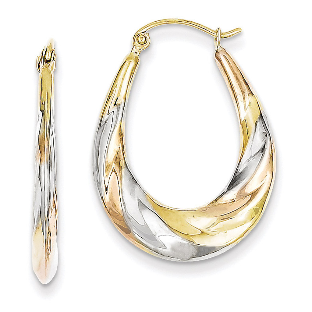 ee44515538e7a White & Rose Rhodium Oval Scalloped Hollow Hoop Earrings 10k Gold 10TC369