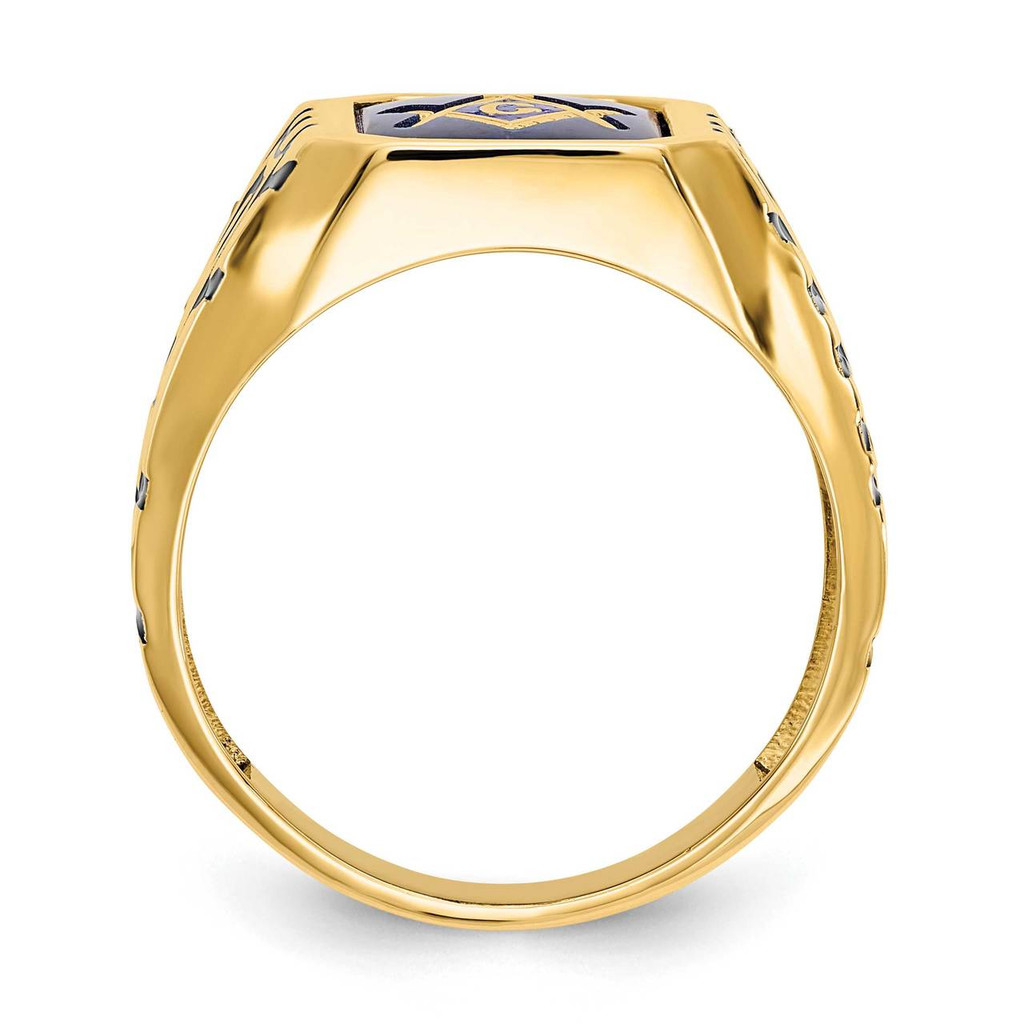 Blue Acrylic Men's Masonic Ring 10k Gold 10X27