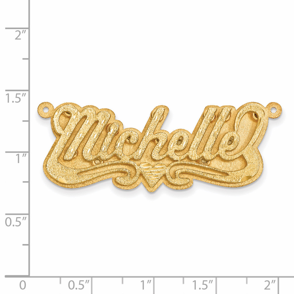 Satin Diamond-cut 3D Nameplate 10k Gold 10XNA239Y