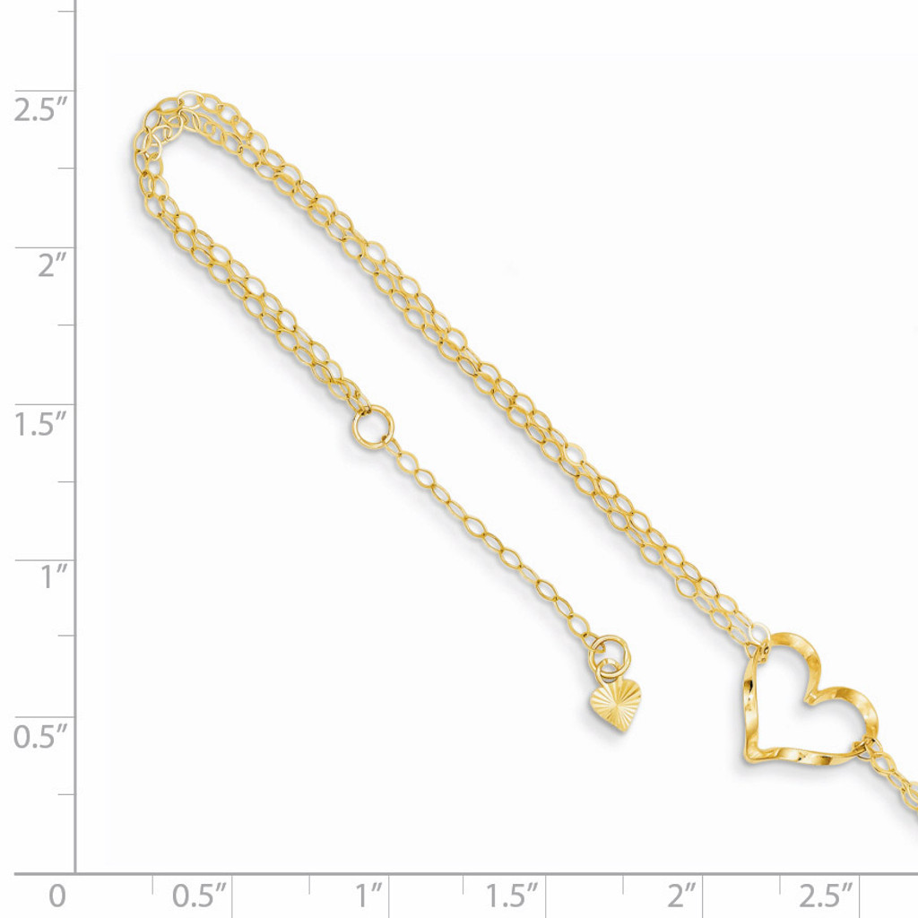 Double Strand Heart Anklet 9 Inch 14k Gold ANK173-9