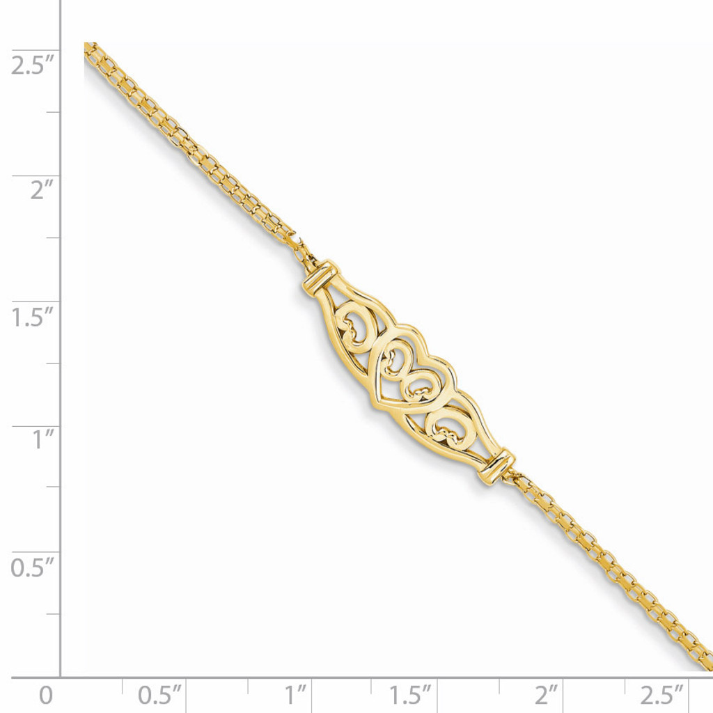 Heart Anklet 9 Inch 14k Gold ANK33-9