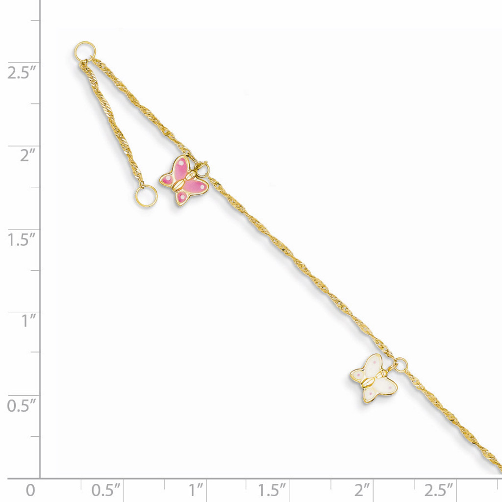 Adjustable Enameled Butterfly Anklet 10 Inch 14k Gold ANK88-10
