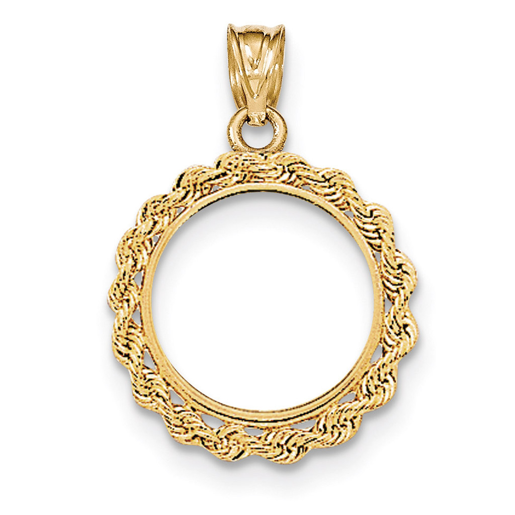 Handmade Rope Polished Prong 1/10AE Coin Bezel 14k Gold BA1/10AE