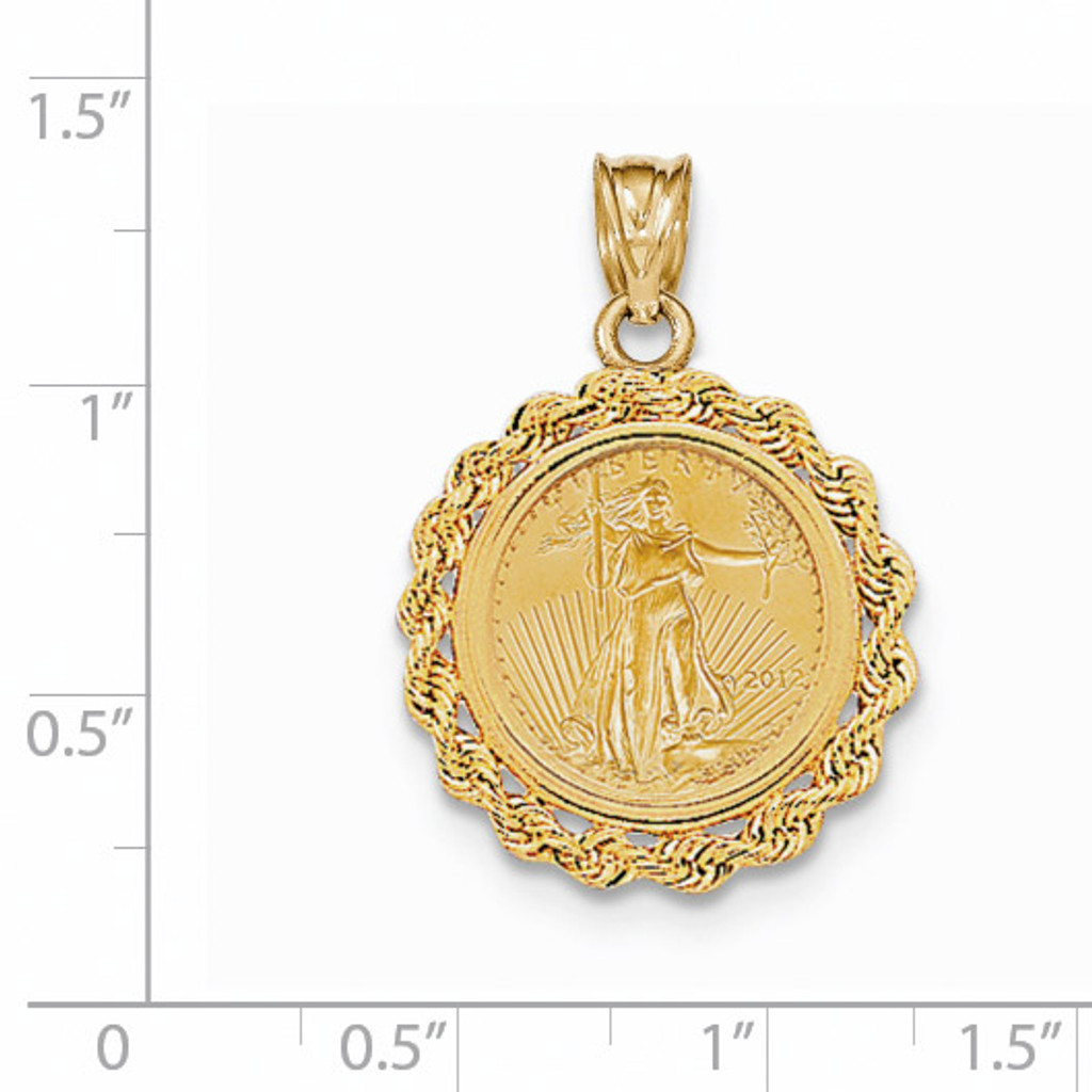 Handmade Rope Polished Prong 1/10AE Bezel with coin 14k Gold BA1/10AEC