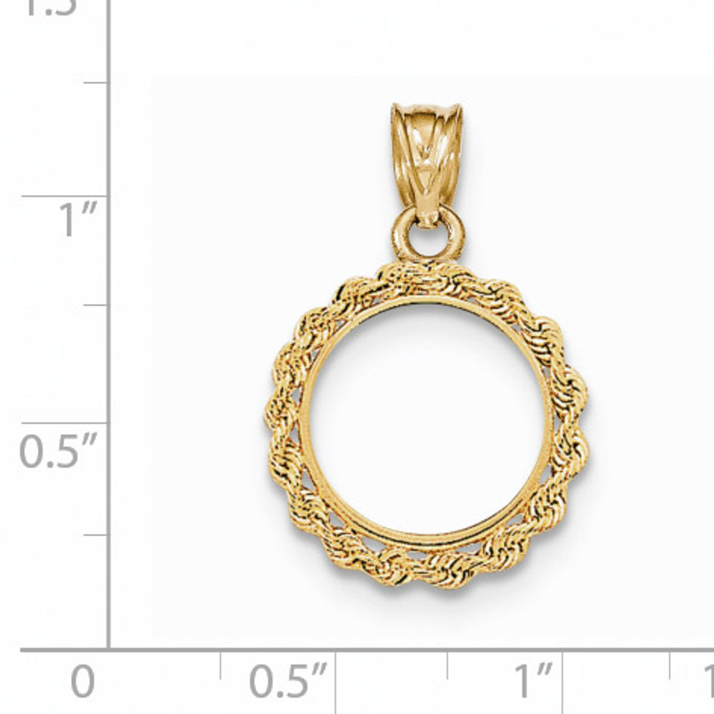 Hand Made Rope Polished Prong 1/20P Coin Bezel 14k Gold BA1/20P
