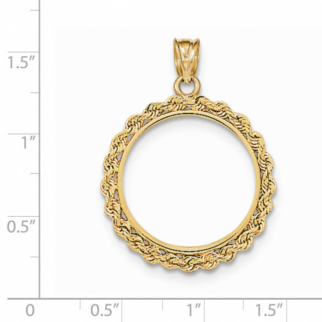 Hand Made Rope Polished Prong 1/4P Coin Bezel 14k Gold BA1/4P