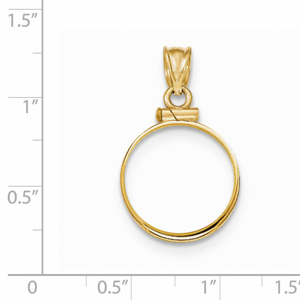Screw Top 1/10AE Coin Bezel 14k Gold Polished BA10/10AE