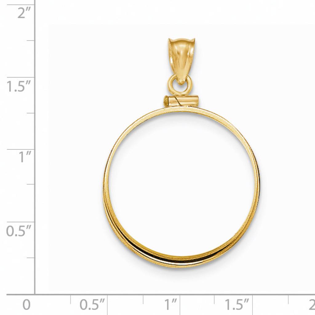 Screw Top 1/2AE Coin Bezel 14k Gold Polished BA10/2AE