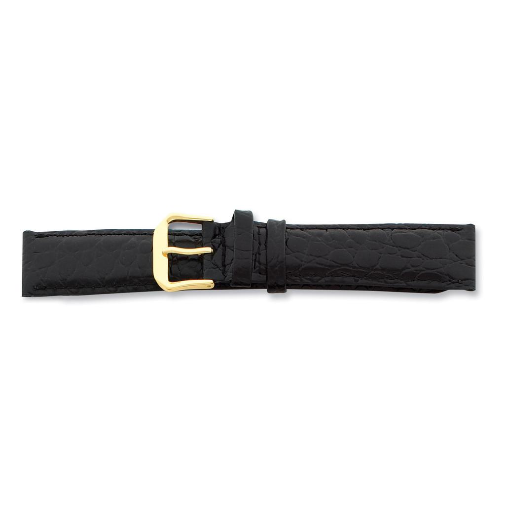 16mm Black Alligator Grain Leather Gld-tone Buckle Watch Band BA22-16