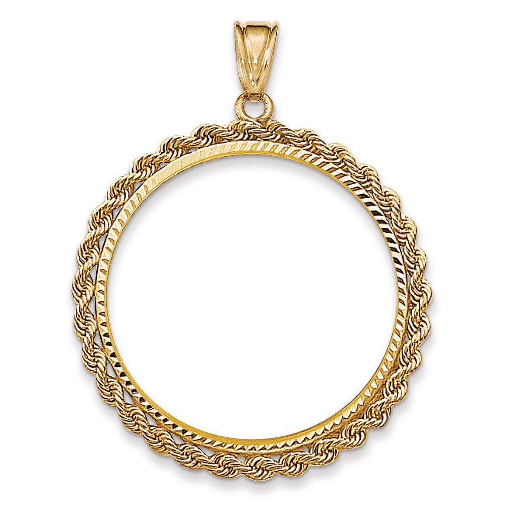 Handmade Rope Diamond-cut Prong 1AE Coin Bezel 14k Gold BA66/1AE