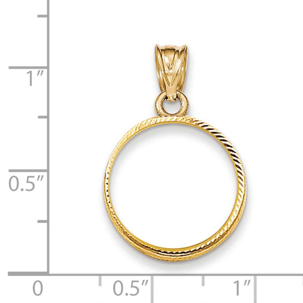 Prong 1/10AE Coin Bezel 14k Gold Diamond-cut BA67/10AE