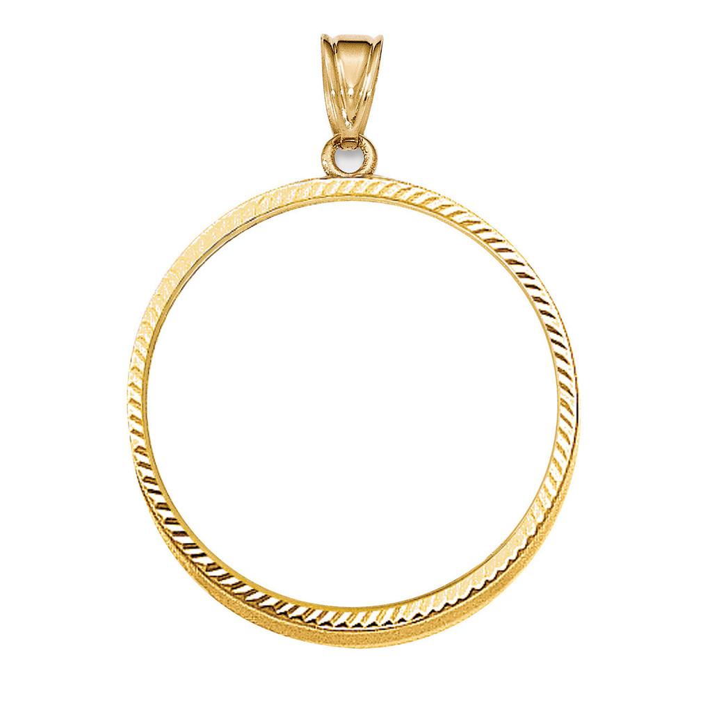 Prong 1AE Coin Bezel 14k Gold Diamond-cut BA67/1AE