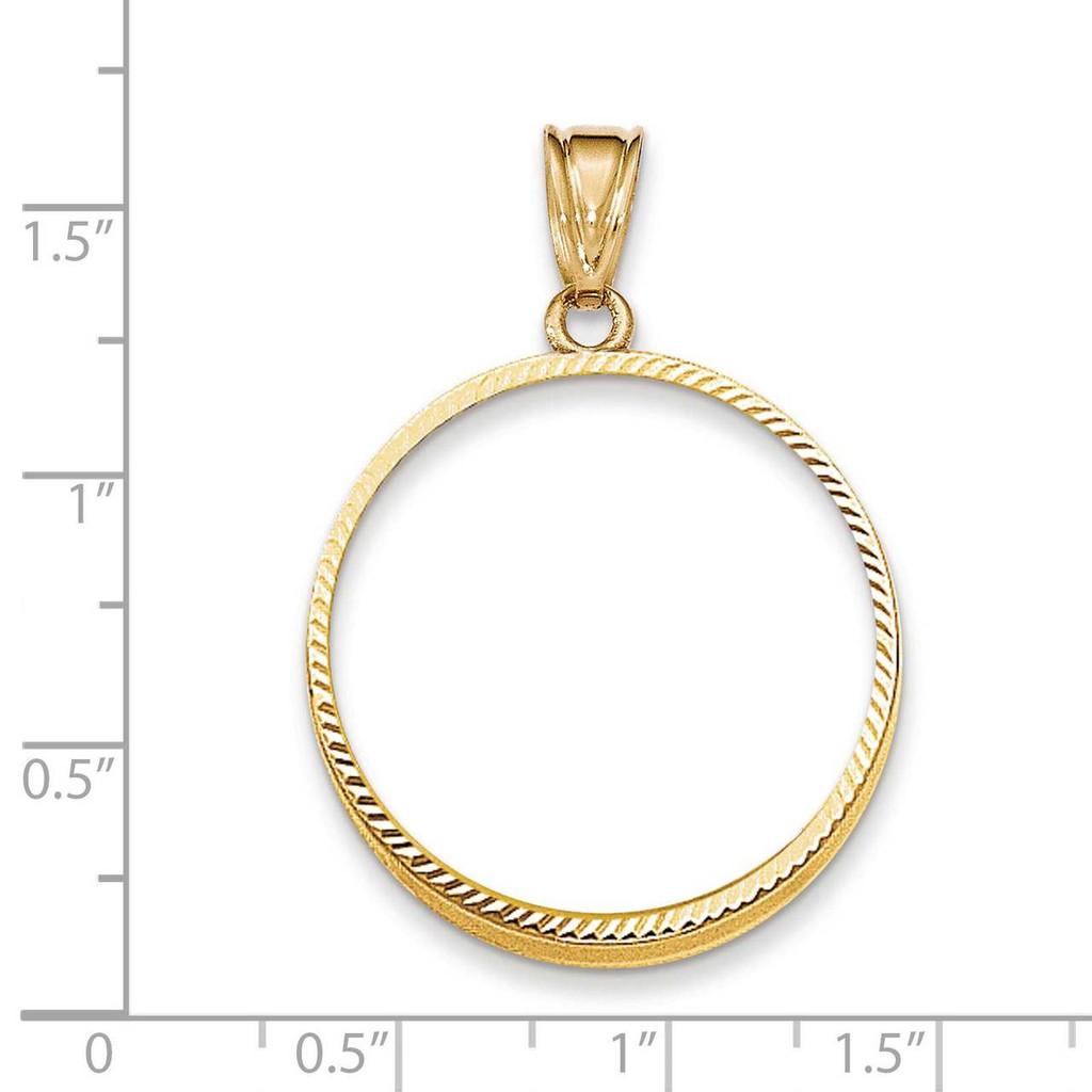 Prong 1/2AE Coin Bezel 14k Gold Diamond-cut BA67/2AE