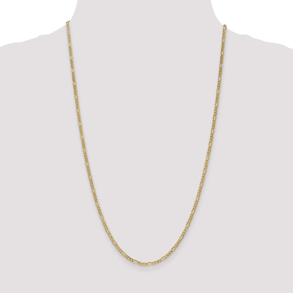 2.50mm Figaro Chain 10 Inch 14k Gold BC120-10