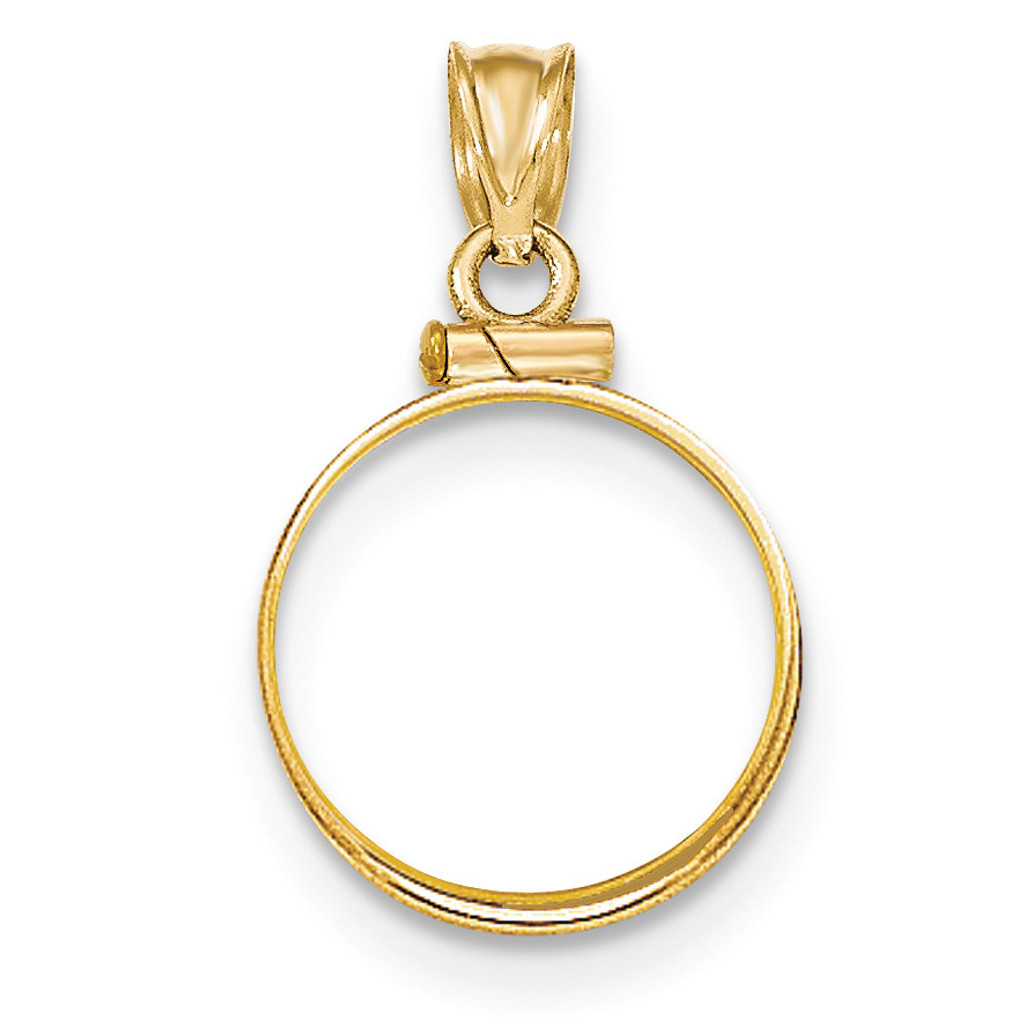 Screw Top 1/10P Coin Bezel 14k Gold Polished BP10/10P