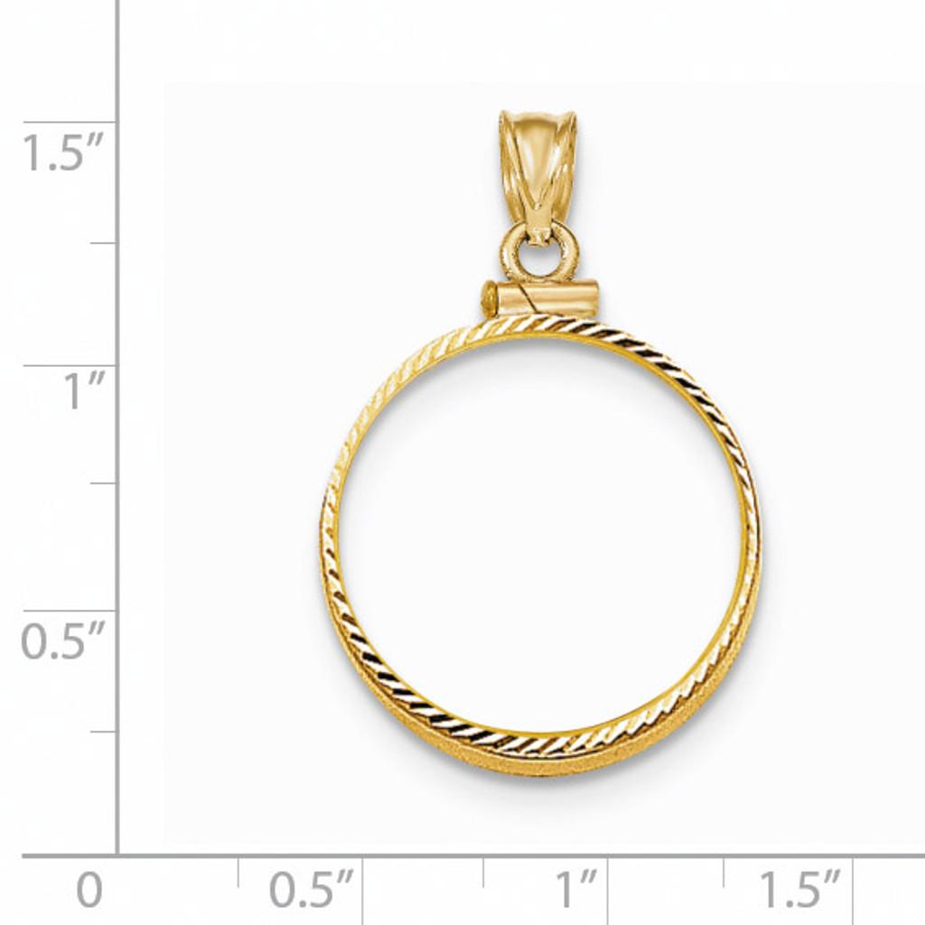 Screw Top 1/4P Coin Bezel 14k Gold Diamond-cut BP11/4P