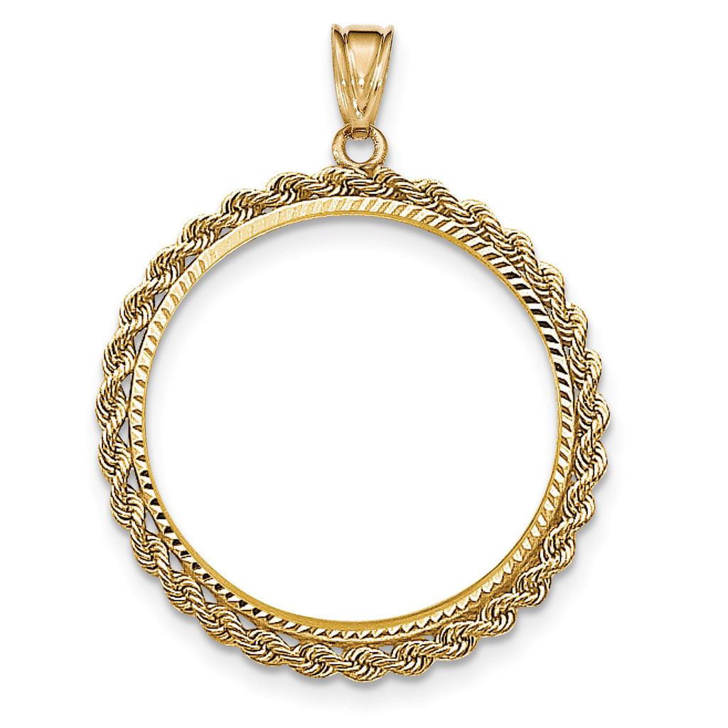 Hand Made Rope Diamond-cut Prong 1P Coin Bezel 14k Gold BP46/1P