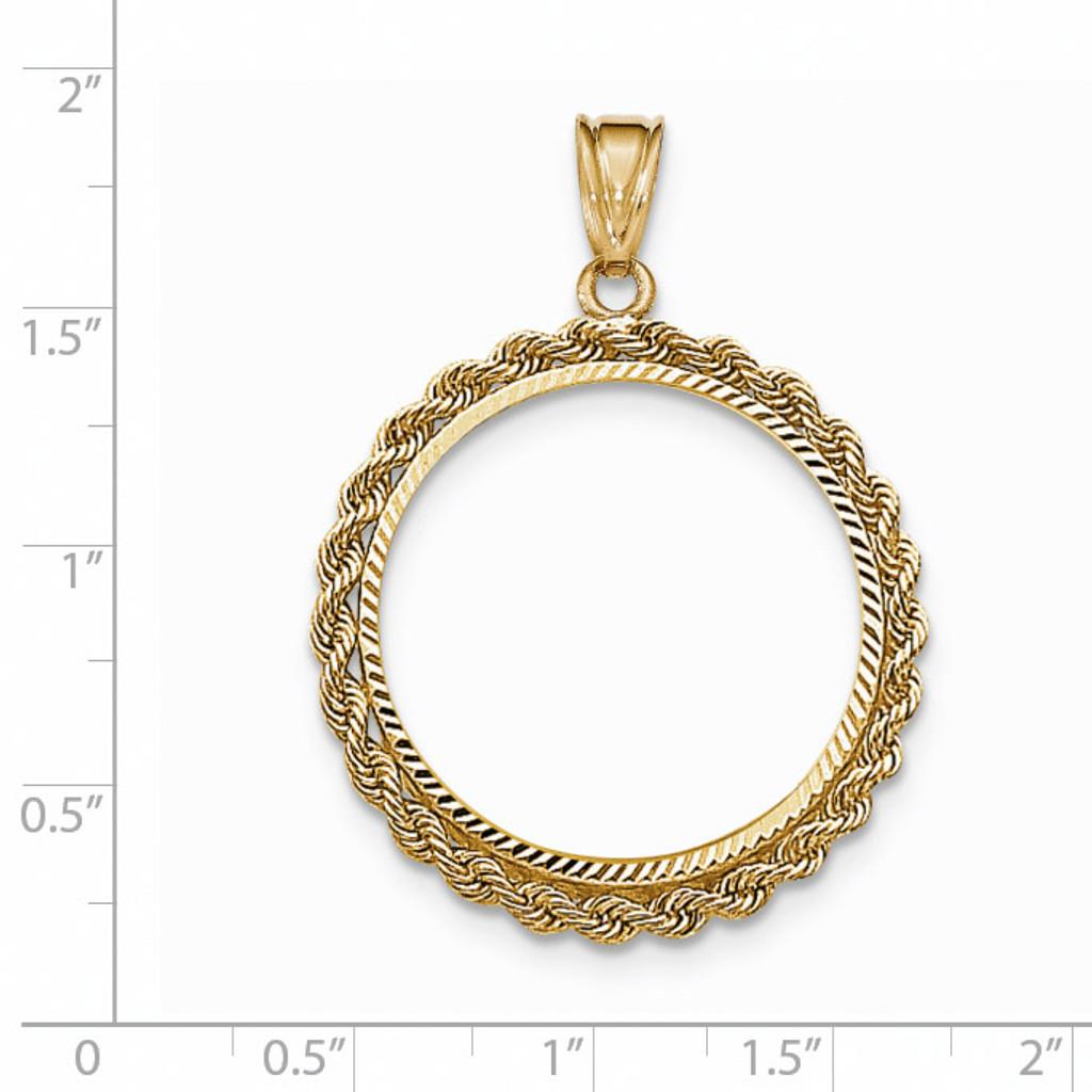 Hand Made Rope Diamond-cut Prong 1/2P Coin Bezel 14k Gold BP46/2P