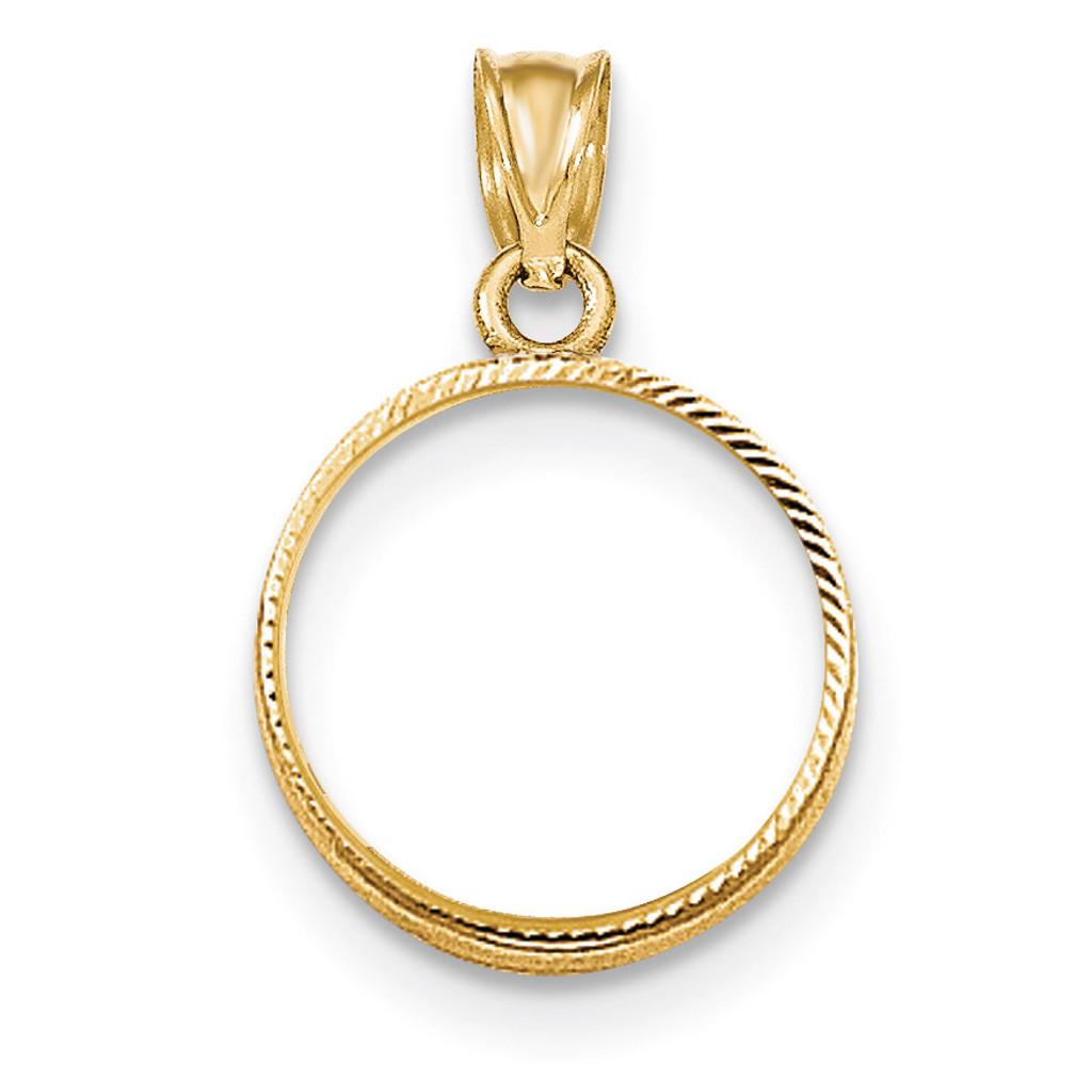 Prong 1/10P Coin Bezel 14k Gold Diamond-cut BP47/10P
