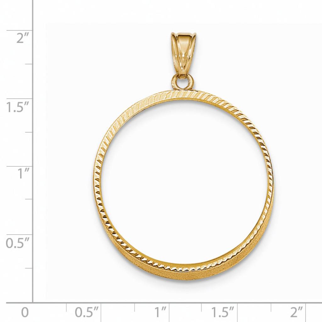 Prong 1P Coin Bezel 14k Gold Diamond-cut BP47/1P