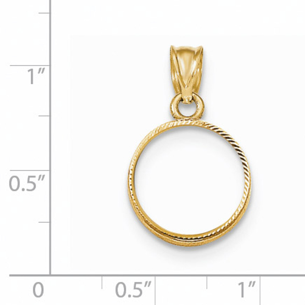Prong 1/20P Coin Bezel 14k Gold Diamond-cut BP47/20P