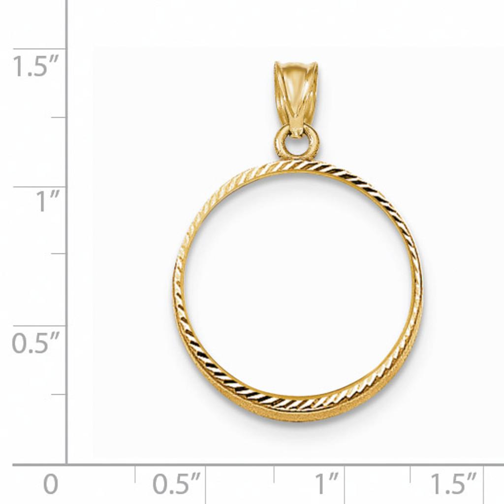 Prong 1/4P Coin Bezel 14k Gold Diamond-cut BP47/4P