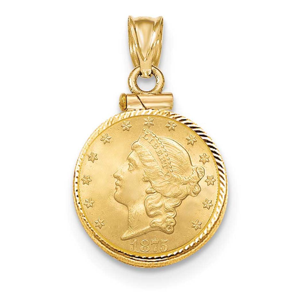 Screw Top $2.5 Coin Bezel 14k Gold Diamond-cut BUS11/2.5