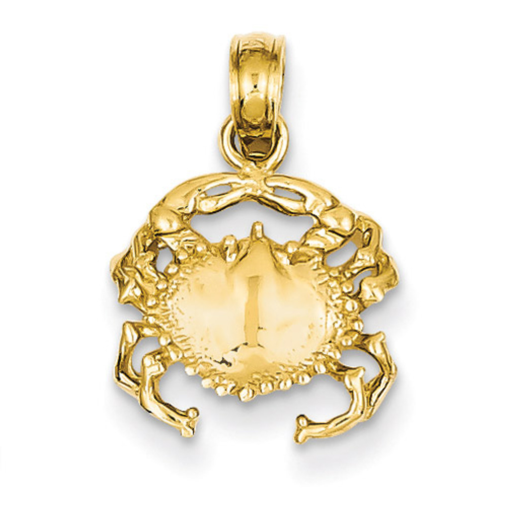 Open-Backed Crab Pendant 14k Gold Solid Polished D1385