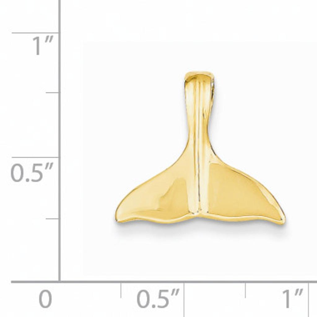 3-D Polished Whale Tail Slide 14k Gold D2