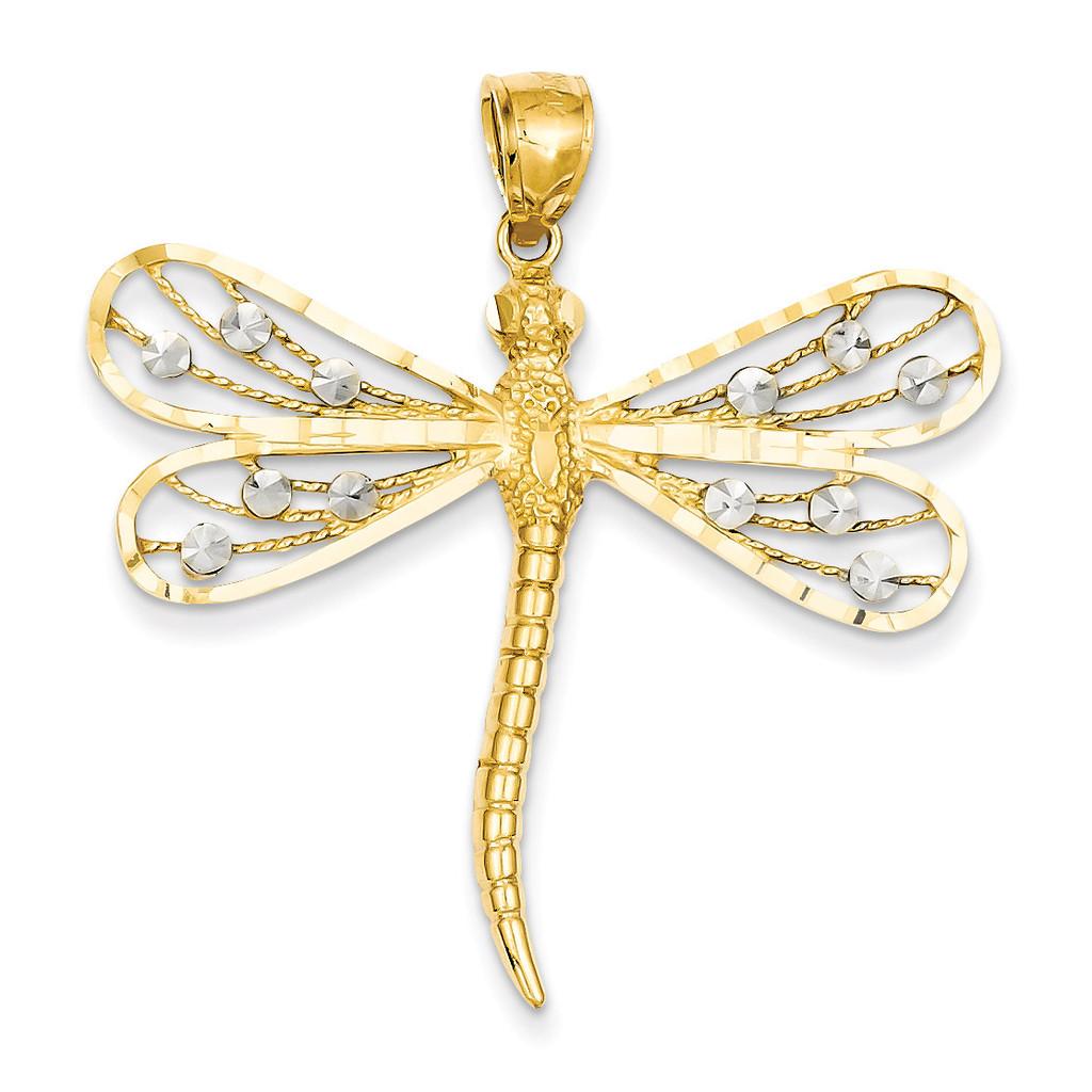 Diamond-cut Filigree Dragonfly Pendant 14k Two-Tone Gold D3433
