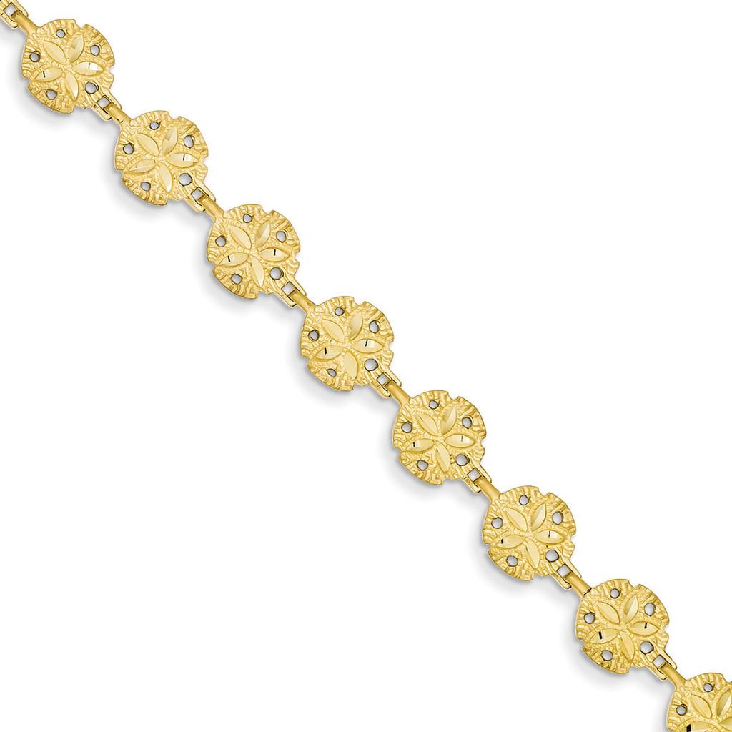 Sand Dollar Bracelet 7 Inch 14k Gold FB1263-7