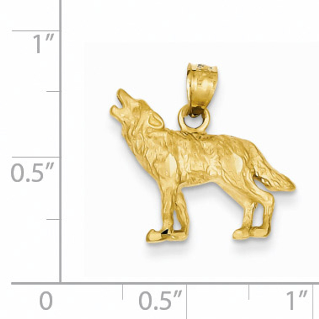 Wolf Pendant 14k Gold Diamond-cut K3331