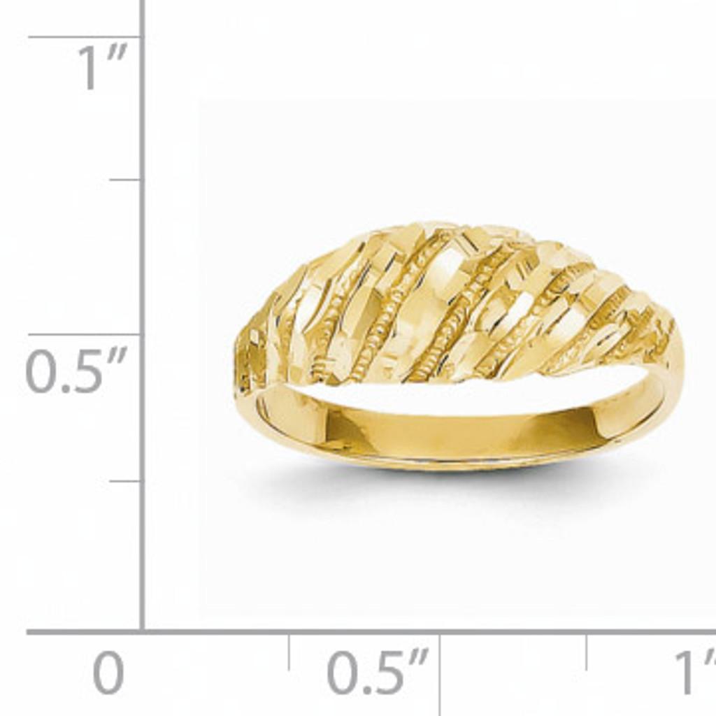 Diamond Cut Dome Ring 14k Gold K3882