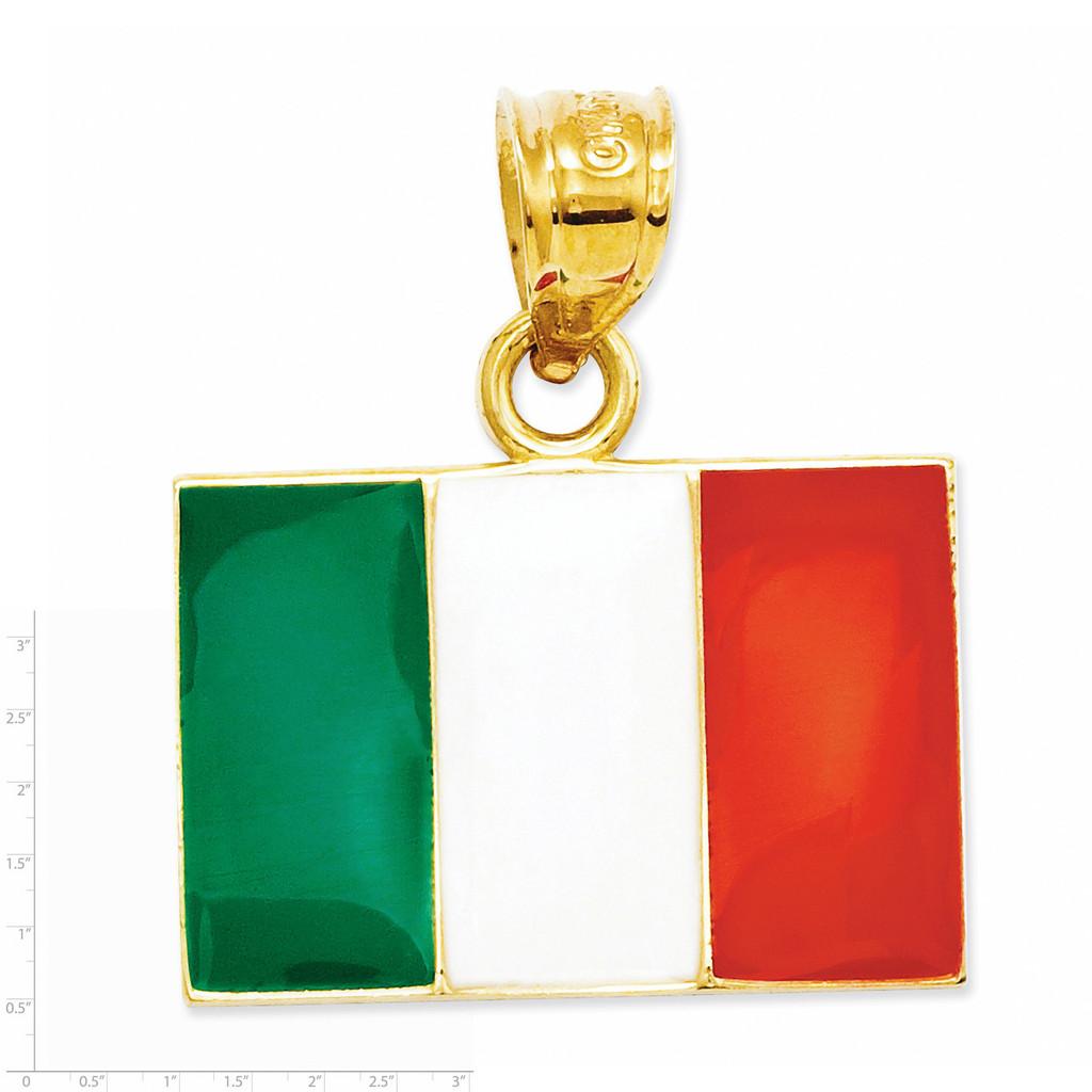Enameled Italy Flag Pendant 14k Gold Solid K872